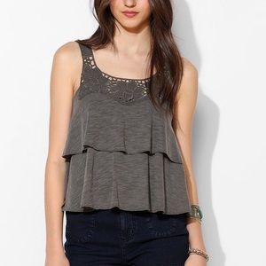Kimchi Blue Embroidered Tiered Open Back Tank Gray